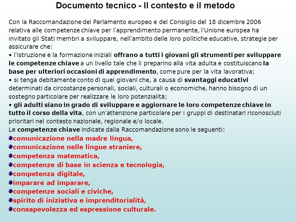 Documento tecnico - Il contesto e il metodo