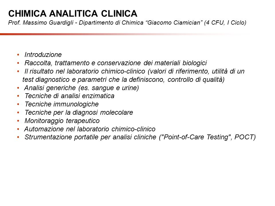 CHIMICA ANALITICA CLINICA