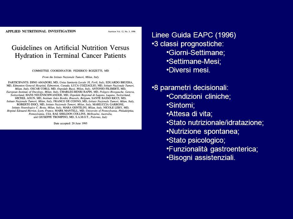 Linee Guida EAPC (1996) • 3 classi prognostiche: • Giorni-Settimane; • Settimane-Mesi; • Diversi mesi.