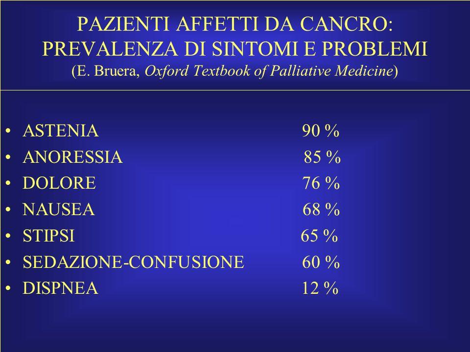 PAZIENTI AFFETTI DA CANCRO: PREVALENZA DI SINTOMI E PROBLEMI (E