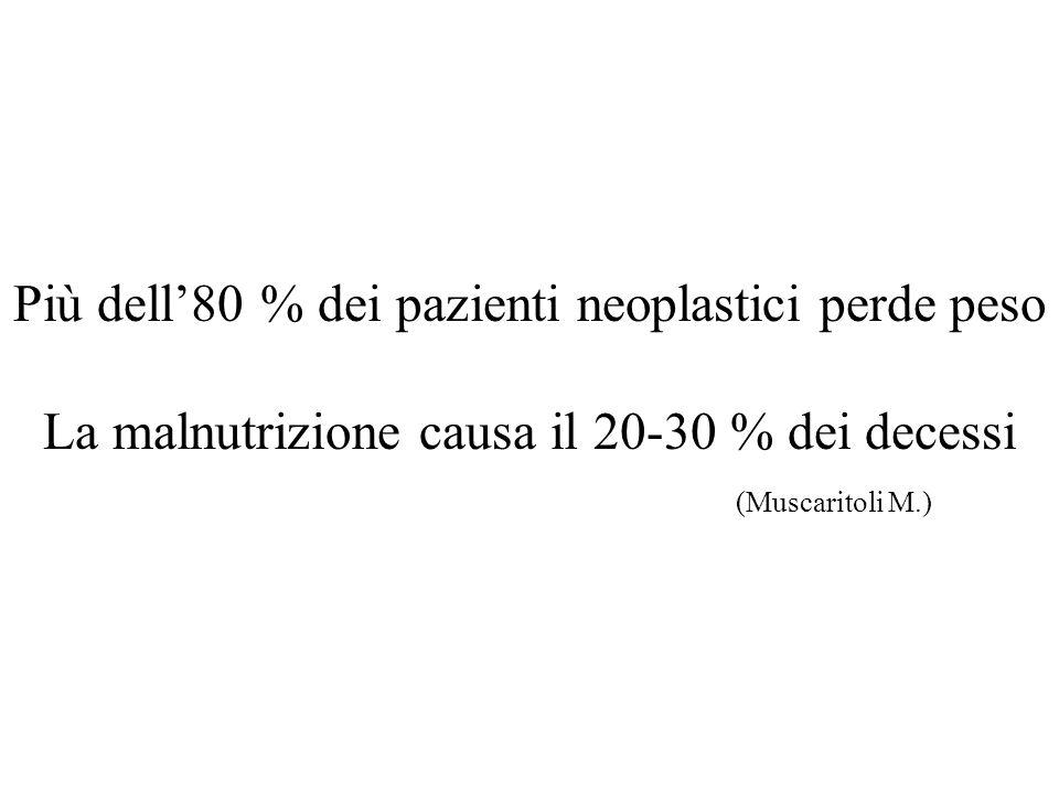 Più dell'80 % dei pazienti neoplastici perde peso La malnutrizione causa il 20-30 % dei decessi (Muscaritoli M.)