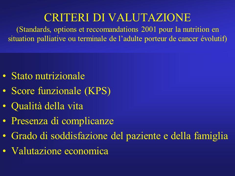 CRITERI DI VALUTAZIONE (Standards, options et reccomandations 2001 pour la nutrition en situation palliative ou terminale de l'adulte porteur de cancer évolutif)