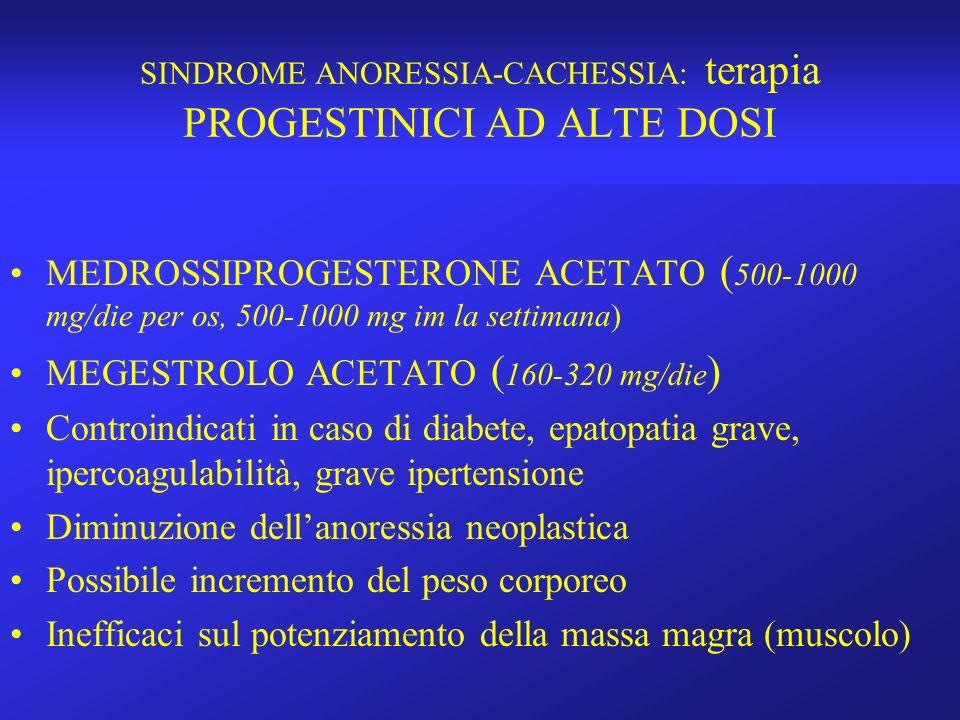 SINDROME ANORESSIA-CACHESSIA: terapia PROGESTINICI AD ALTE DOSI