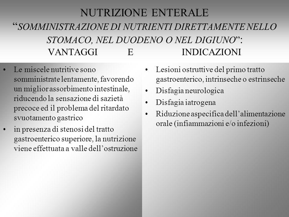 NUTRIZIONE ENTERALE SOMMINISTRAZIONE DI NUTRIENTI DIRETTAMENTE NELLO STOMACO, NEL DUODENO O NEL DIGIUNO : VANTAGGI E INDICAZIONI