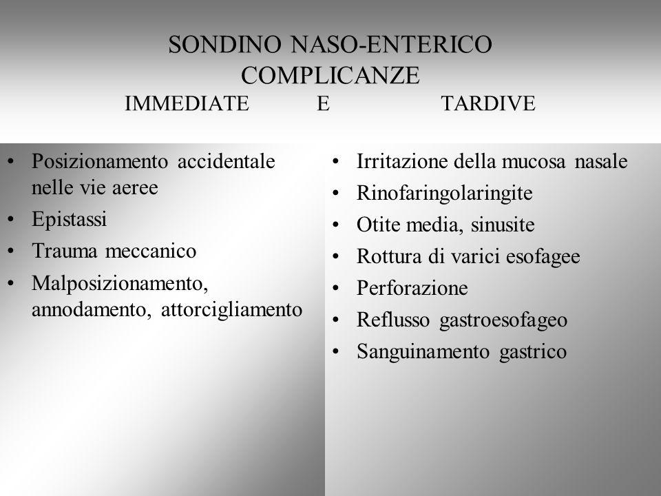 SONDINO NASO-ENTERICO COMPLICANZE IMMEDIATE E TARDIVE