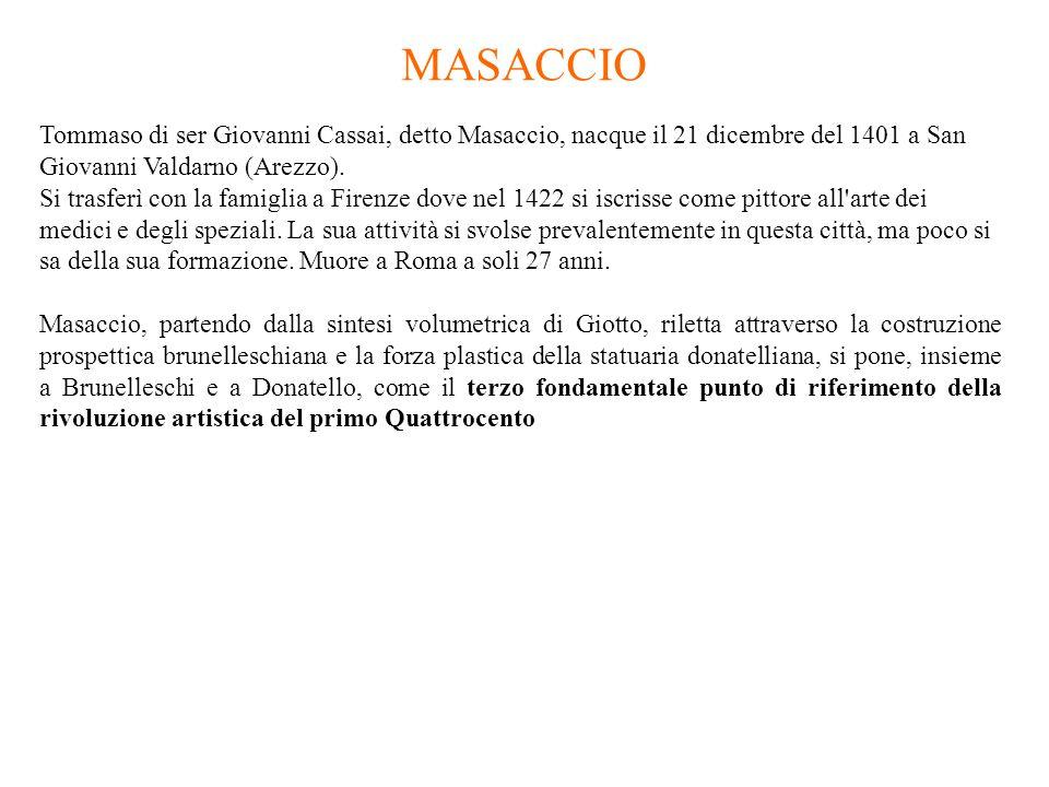 MASACCIO Tommaso di ser Giovanni Cassai, detto Masaccio, nacque il 21 dicembre del 1401 a San Giovanni Valdarno (Arezzo).