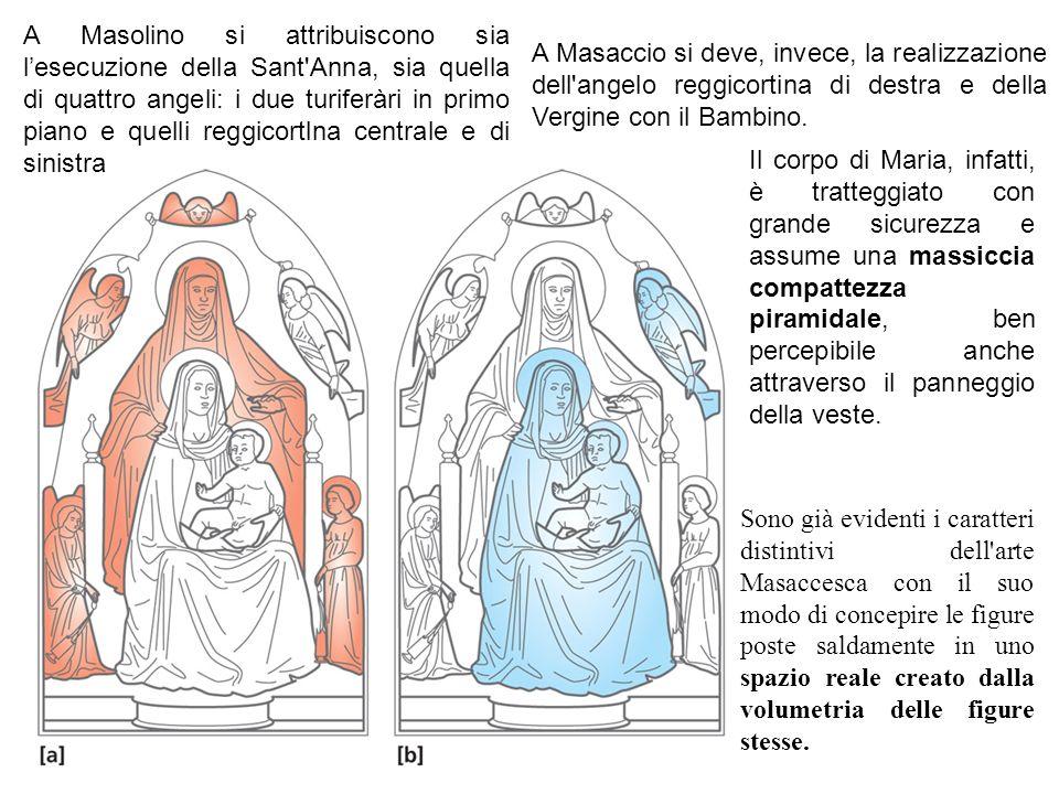 A Masolino si attribuiscono sia l'esecuzione della Sant Anna, sia quella di quattro angeli: i due turiferàri in primo piano e quelli reggicortlna centrale e di sinistra
