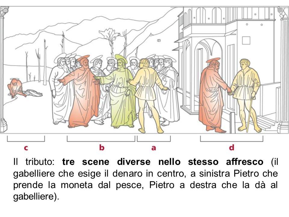 Il tributo: tre scene diverse nello stesso affresco (il gabelliere che esige il denaro in centro, a sinistra Pietro che prende la moneta dal pesce, Pietro a destra che la dà al gabelliere).