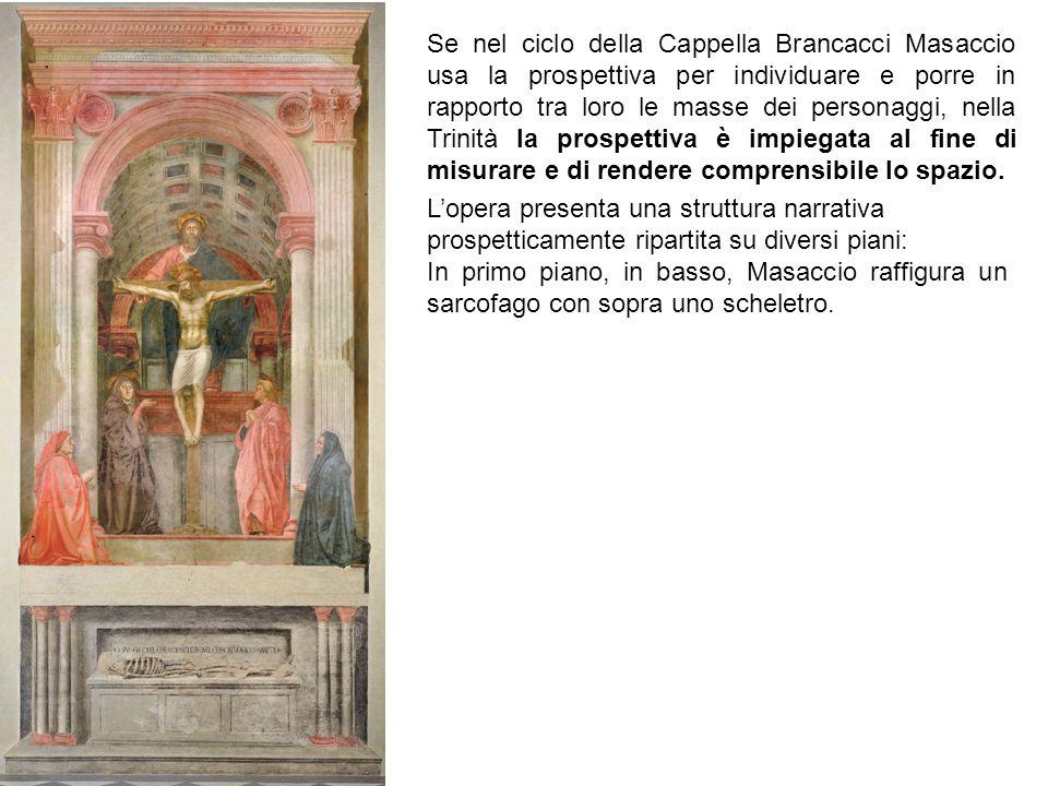 Se nel ciclo della Cappella Brancacci Masaccio usa la prospettiva per individuare e porre in rapporto tra loro le masse dei personaggi, nella Trinità la prospettiva è impiegata al fine di misurare e di rendere comprensibile lo spazio.