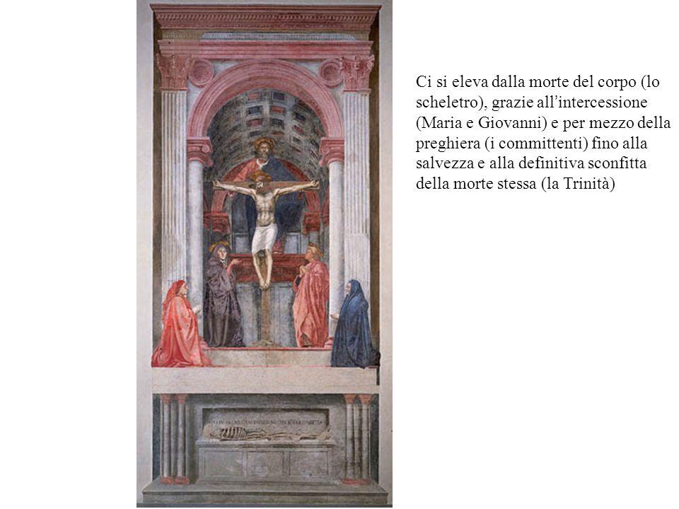 Ci si eleva dalla morte del corpo (lo scheletro), grazie all'intercessione (Maria e Giovanni) e per mezzo della preghiera (i committenti) fino alla salvezza e alla definitiva sconfitta della morte stessa (la Trinità)