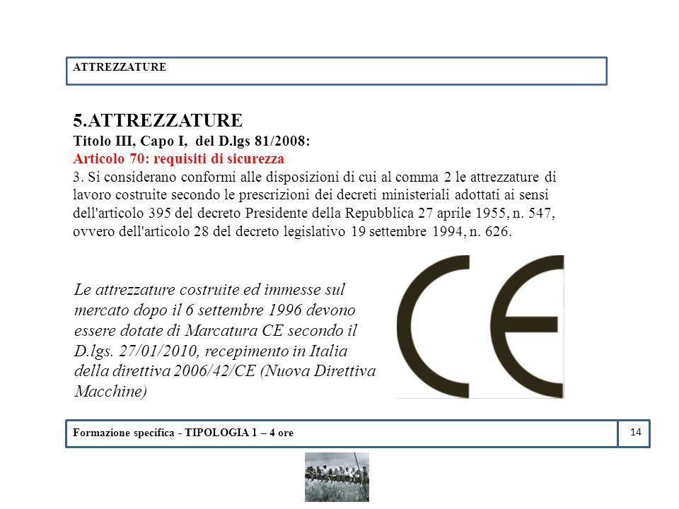 ATTREZZATURE 5.ATTREZZATURE. Titolo III, Capo I, del D.lgs 81/2008: Articolo 70: requisiti di sicurezza.