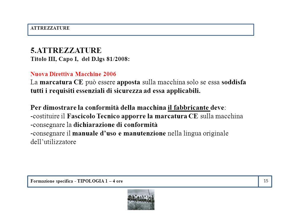 ATTREZZATURE 5.ATTREZZATURE. Titolo III, Capo I, del D.lgs 81/2008: Nuova Direttiva Macchine 2006.