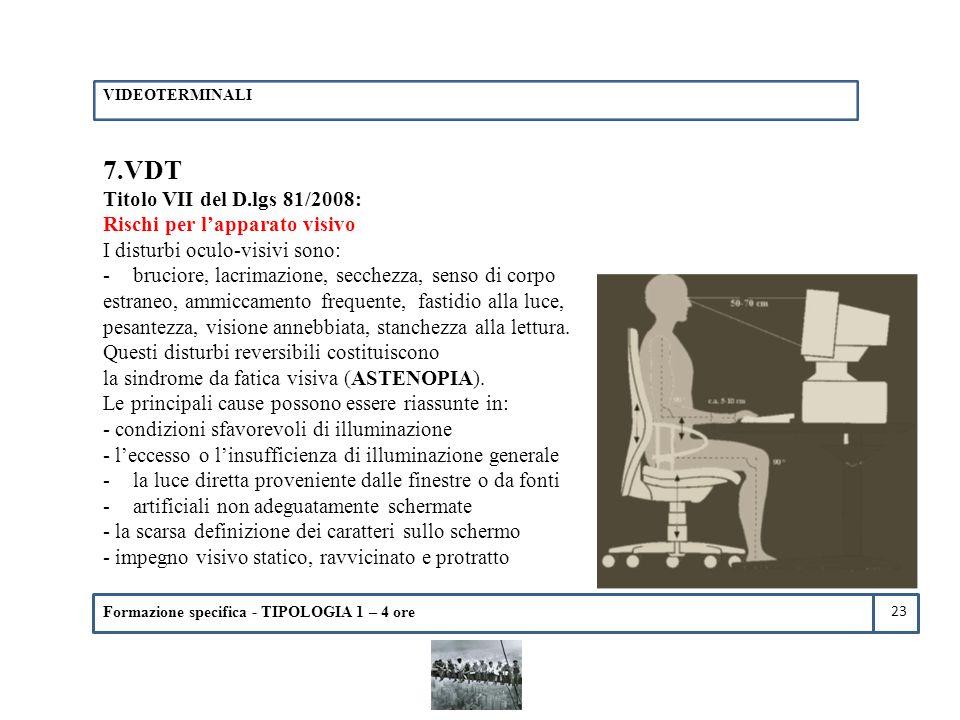 7.VDT Titolo VII del D.lgs 81/2008: Rischi per l'apparato visivo