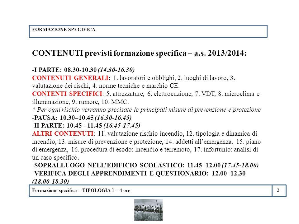 CONTENUTI previsti formazione specifica – a.s. 2013/2014: