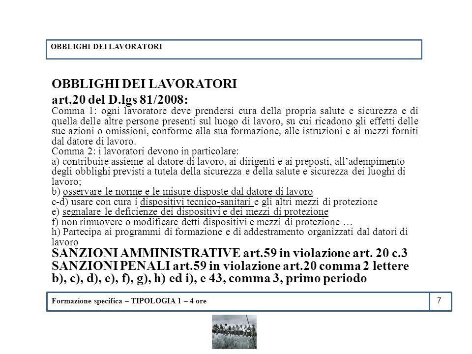 OBBLIGHI DEI LAVORATORI art.20 del D.lgs 81/2008: