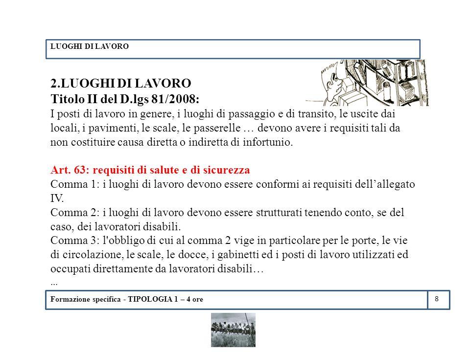 2.LUOGHI DI LAVORO Titolo II del D.lgs 81/2008: