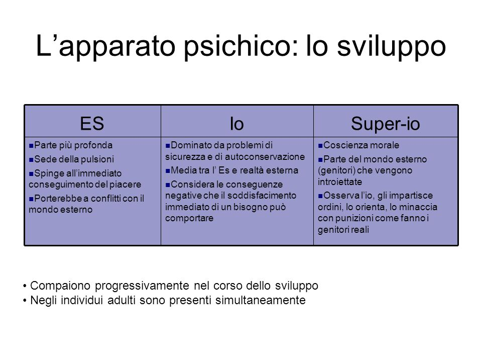 L'apparato psichico: lo sviluppo