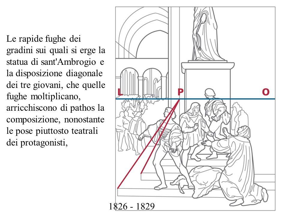 Le rapide fughe dei gradini sui quali si erge la statua di sant Ambrogio e la disposizione diagonale dei tre giovani, che quelle fughe moltiplicano, arricchiscono di pathos la composizione, nonostante le pose piuttosto teatrali dei protagonisti,