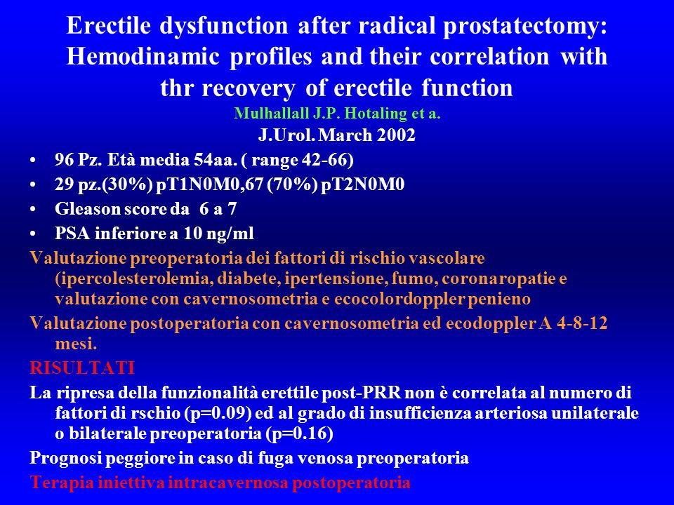 Erectile dysfunction after radical prostatectomy: Hemodinamic profiles and their correlation with thr recovery of erectile function Mulhallall J.P. Hotaling et a. J.Urol. March 2002