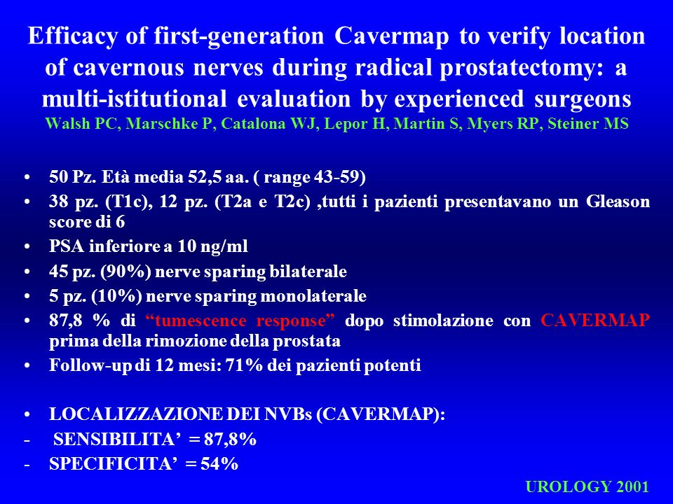 Efficacy of first-generation Cavermap to verify location of cavernous nerves during radical prostatectomy: a multi-istitutional evaluation by experienced surgeons Walsh PC, Marschke P, Catalona WJ, Lepor H, Martin S, Myers RP, Steiner MS