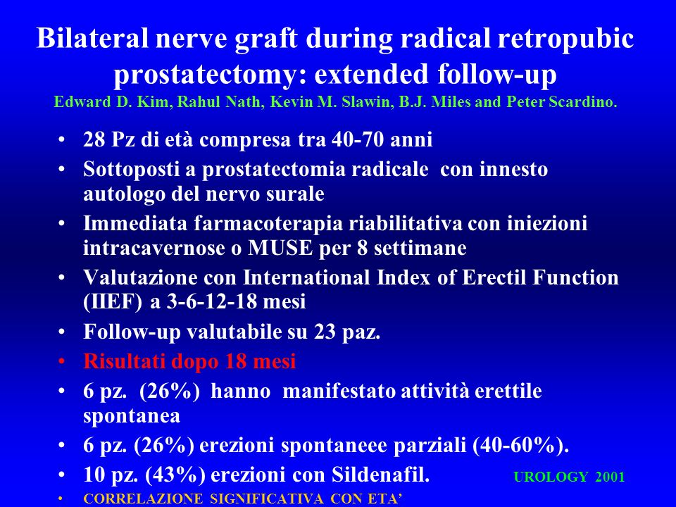 Bilateral nerve graft during radical retropubic prostatectomy: extended follow-up Edward D. Kim, Rahul Nath, Kevin M. Slawin, B.J. Miles and Peter Scardino.