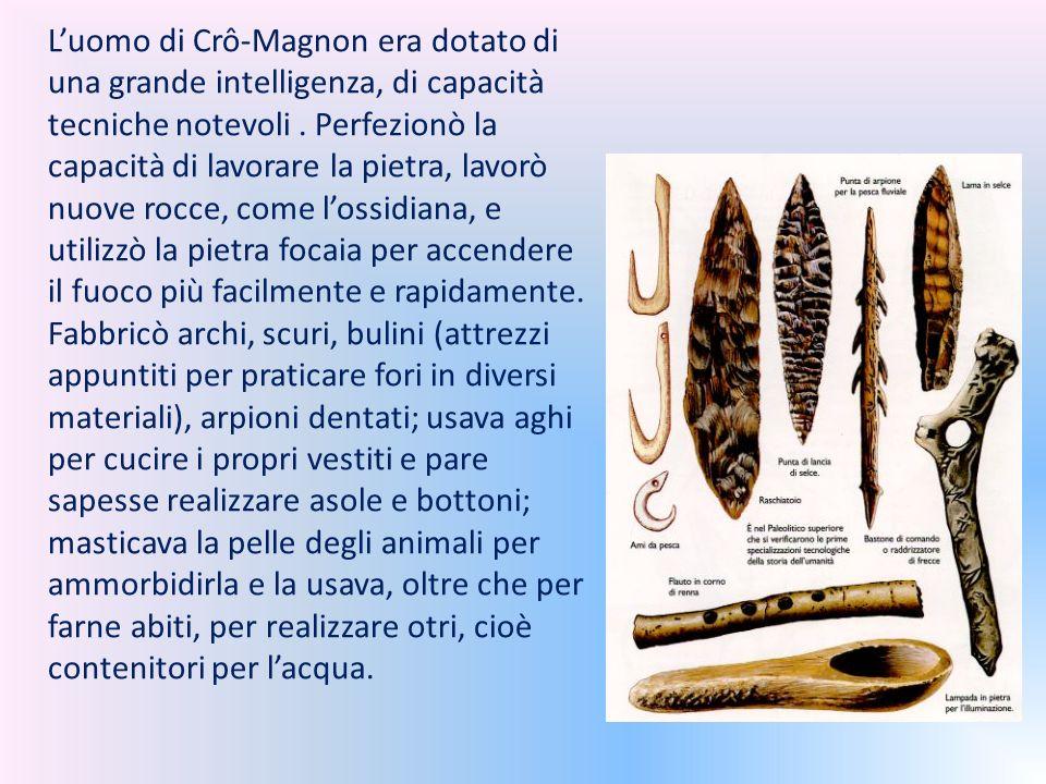 L'uomo di Crô-Magnon era dotato di una grande intelligenza, di capacità tecniche notevoli .