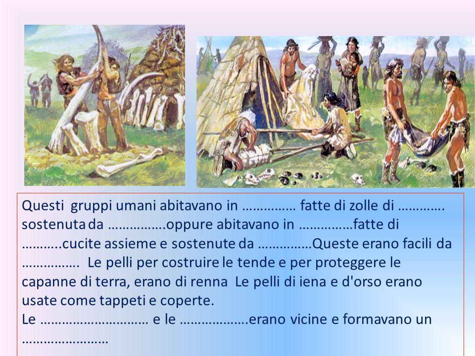 Questi gruppi umani abitavano in …………… fatte di zolle di …………