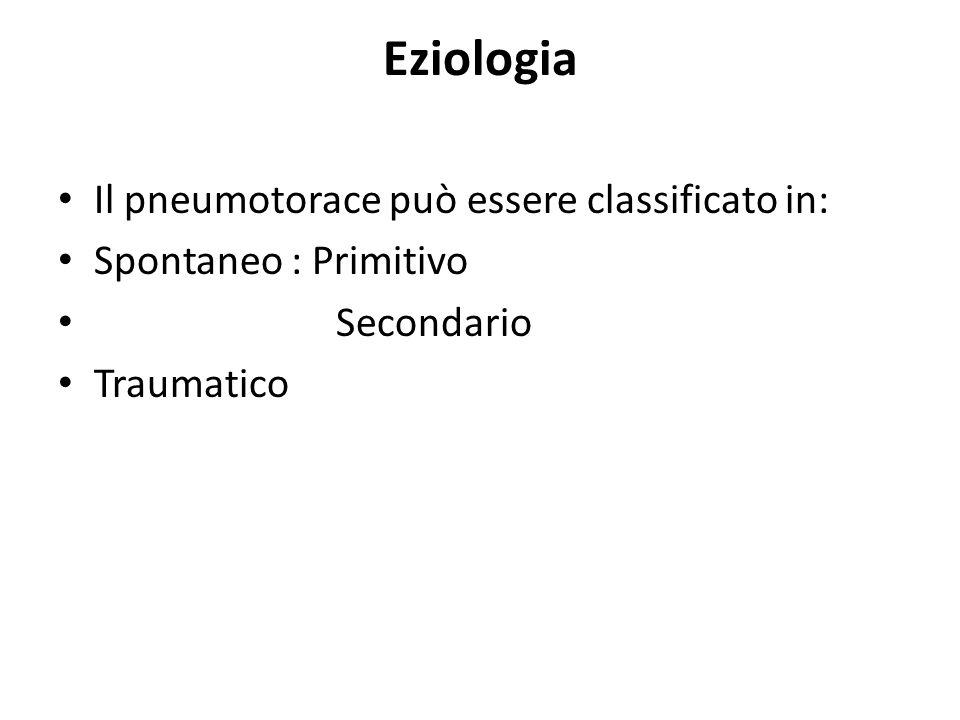 Eziologia Il pneumotorace può essere classificato in:
