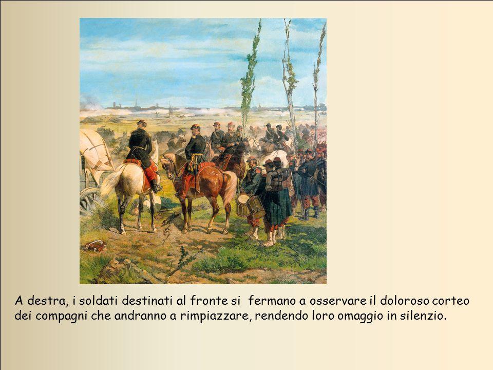 A destra, i soldati destinati al fronte si fermano a osservare il doloroso corteo dei compagni che andranno a rimpiazzare, rendendo loro omaggio in silenzio.