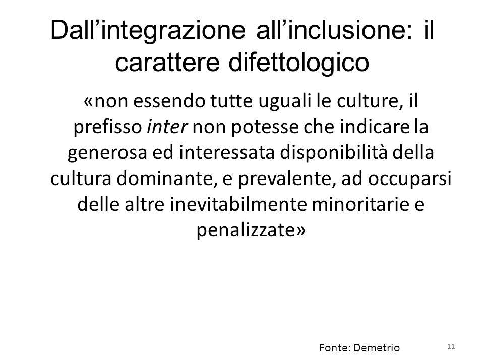 Dall'integrazione all'inclusione: il carattere difettologico
