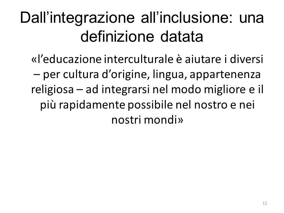 Dall'integrazione all'inclusione: una definizione datata