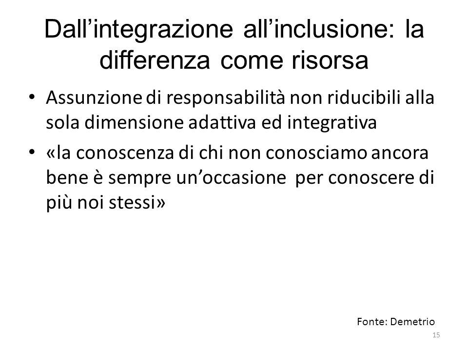 Dall'integrazione all'inclusione: la differenza come risorsa