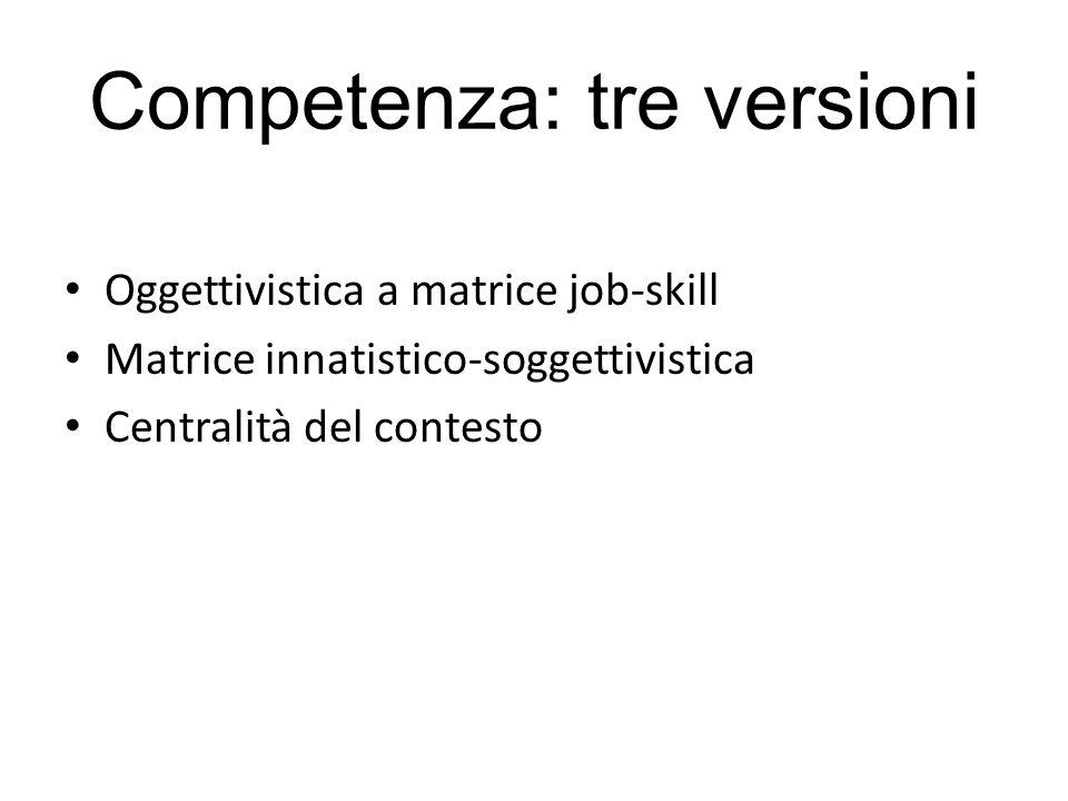 Competenza: tre versioni