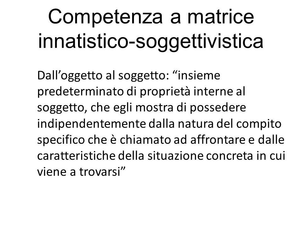 Competenza a matrice innatistico-soggettivistica