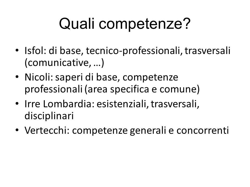 Quali competenze Isfol: di base, tecnico-professionali, trasversali (comunicative, …)