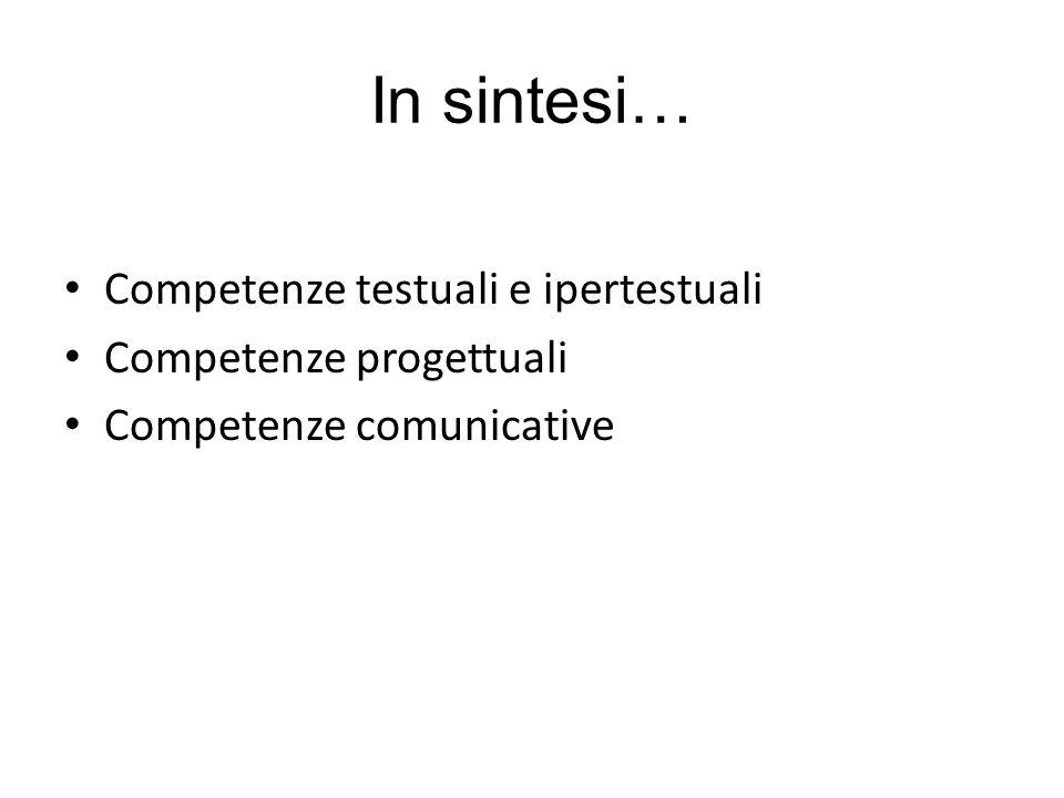 In sintesi… Competenze testuali e ipertestuali Competenze progettuali