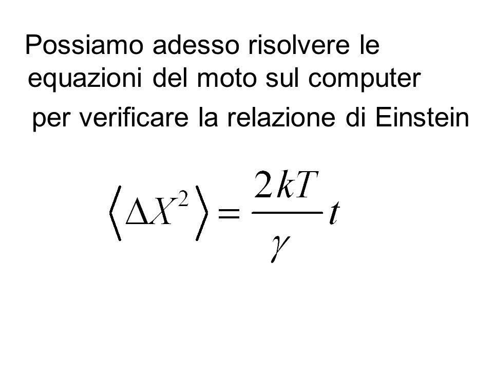 Possiamo adesso risolvere le equazioni del moto sul computer