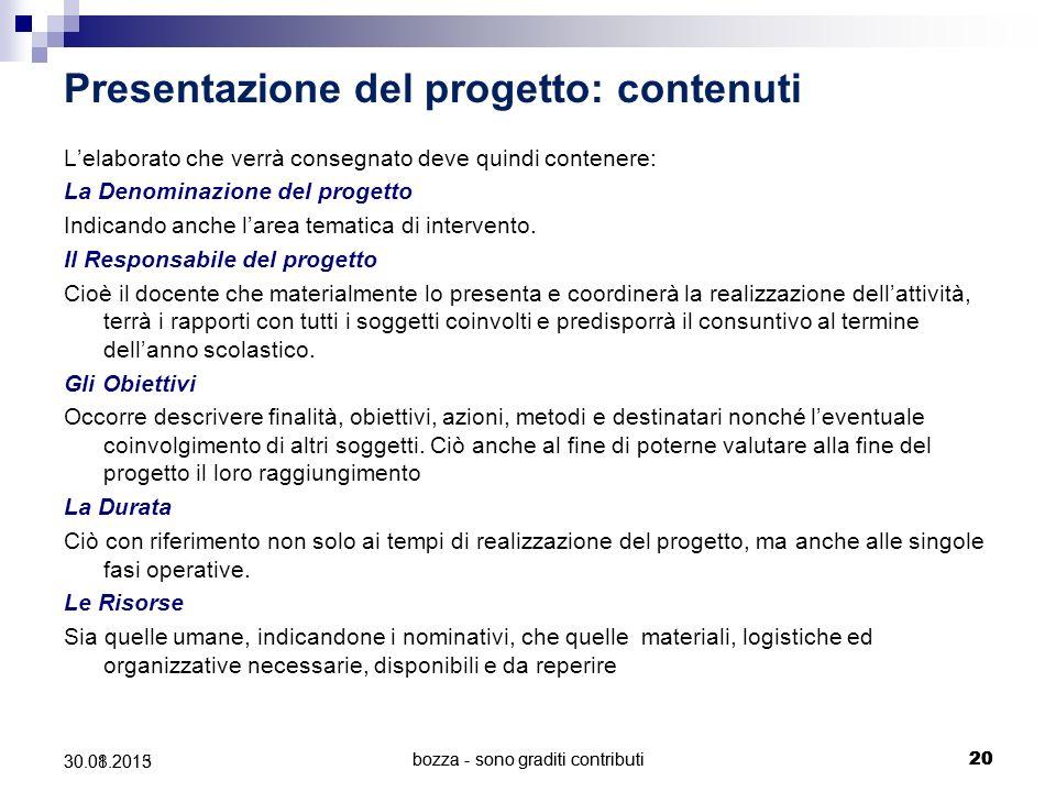 Presentazione del progetto: contenuti