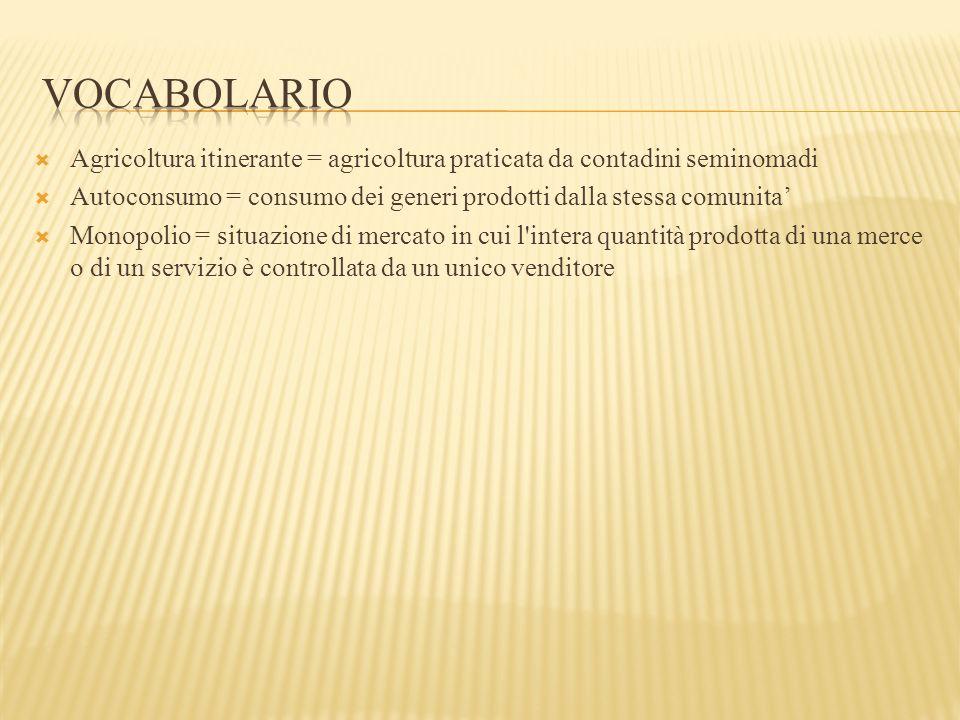 vocabolario Agricoltura itinerante = agricoltura praticata da contadini seminomadi. Autoconsumo = consumo dei generi prodotti dalla stessa comunita'