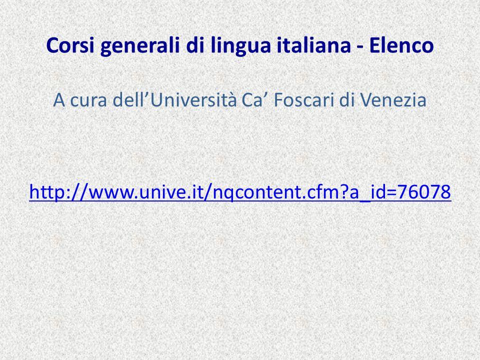 Corsi generali di lingua italiana - Elenco