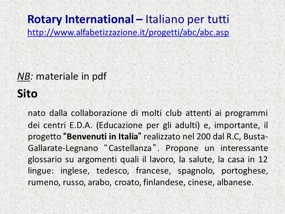 Rotary International – Italiano per tutti http://www. alfabetizzazione