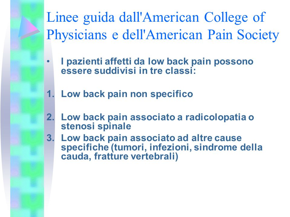 Linee guida dall American College of Physicians e dell American Pain Society