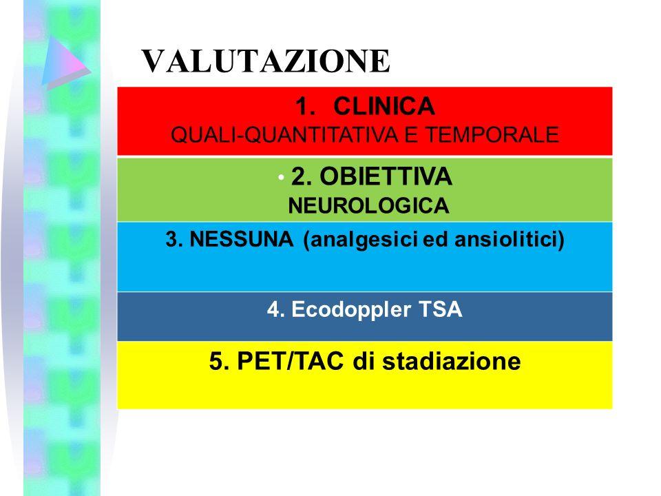 3. NESSUNA (analgesici ed ansiolitici) 5. PET/TAC di stadiazione