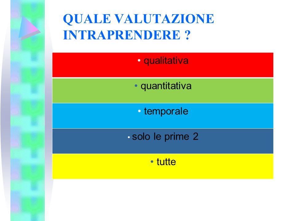 QUALE VALUTAZIONE INTRAPRENDERE