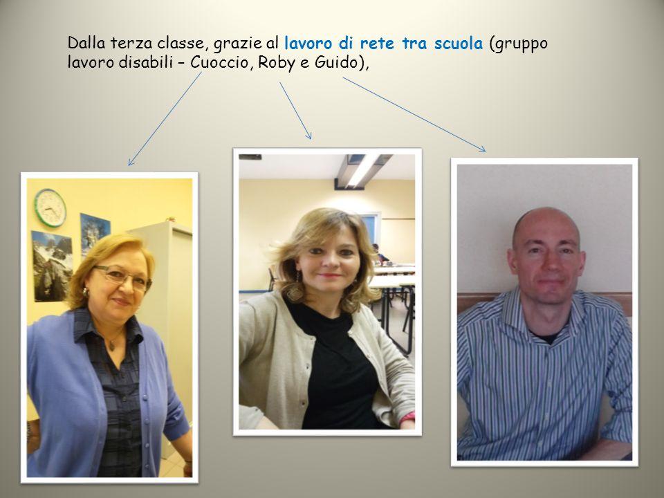 Dalla terza classe, grazie al lavoro di rete tra scuola (gruppo lavoro disabili – Cuoccio, Roby e Guido),