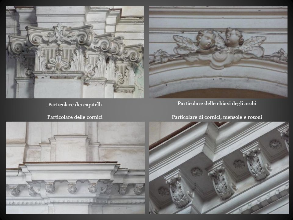Particolare dei capitelli Particolare delle chiavi degli archi