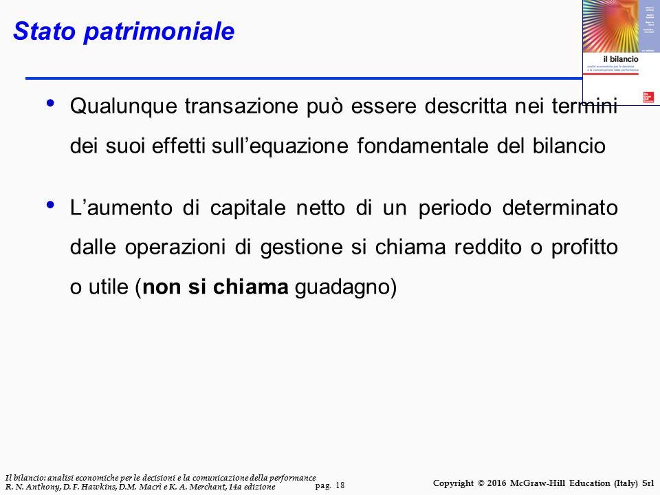 Stato patrimoniale Qualunque transazione può essere descritta nei termini dei suoi effetti sull'equazione fondamentale del bilancio.