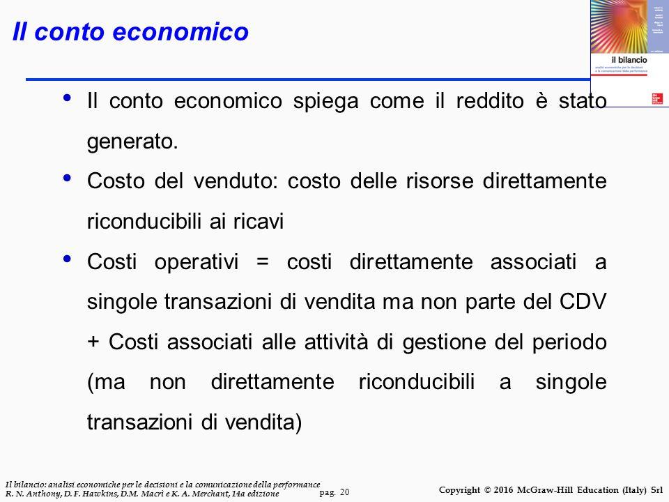 Il conto economico Il conto economico spiega come il reddito è stato generato.