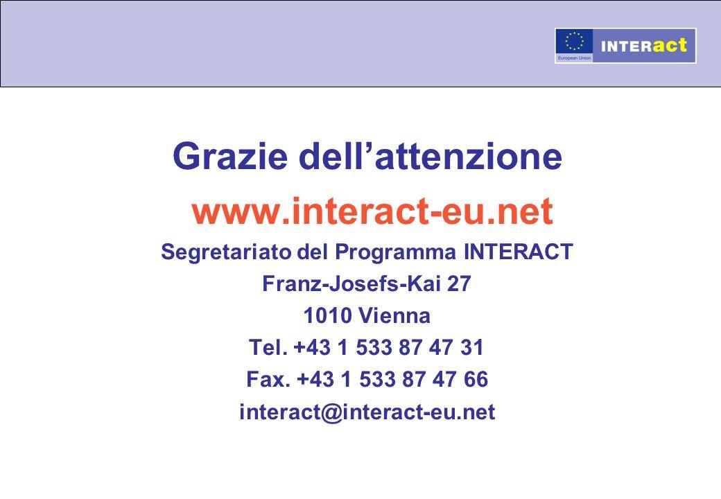 Grazie dell'attenzione Segretariato del Programma INTERACT
