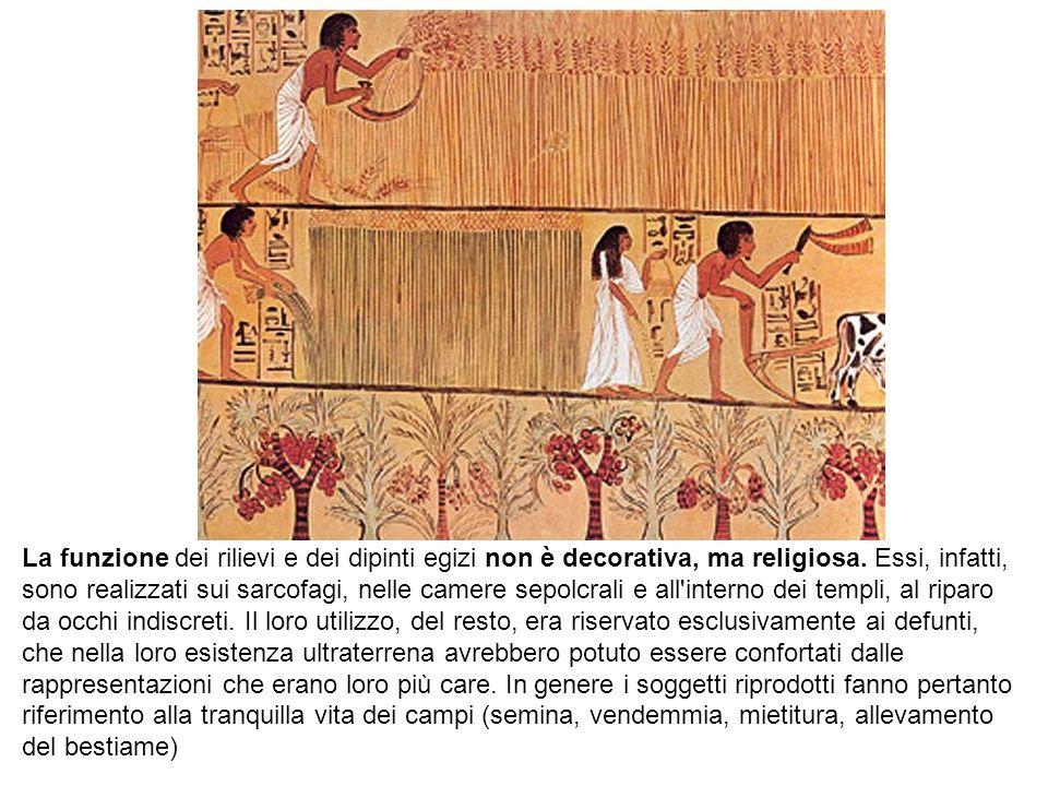 La funzione dei rilievi e dei dipinti egizi non è decorativa, ma religiosa.